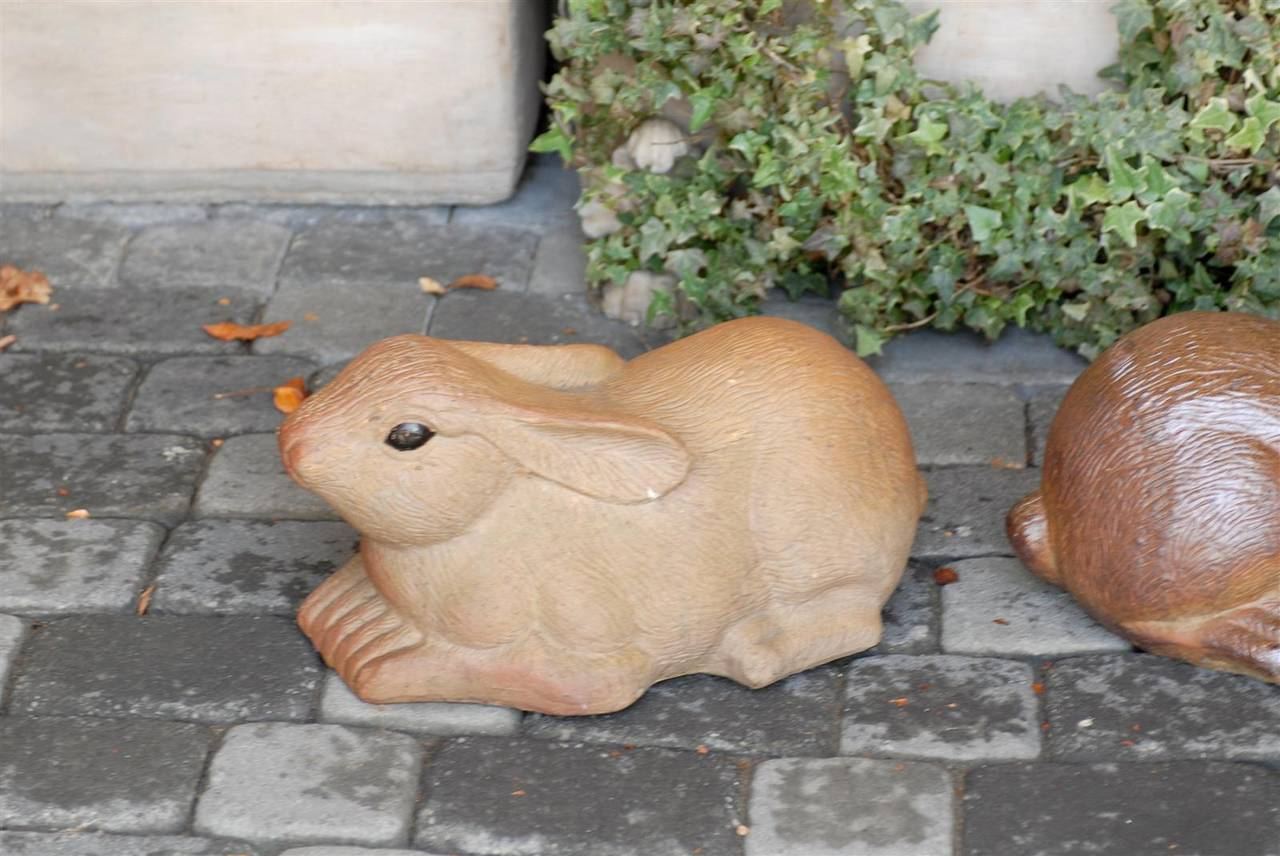 Pair of Large Painted Terracotta Rabbit Sculptures, 20th Century, English For Sale 1