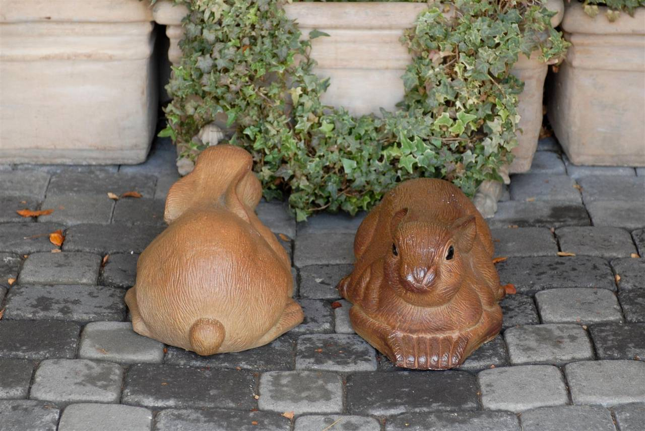 Pair of Large Painted Terracotta Rabbit Sculptures, 20th Century, English In Good Condition For Sale In Atlanta, GA
