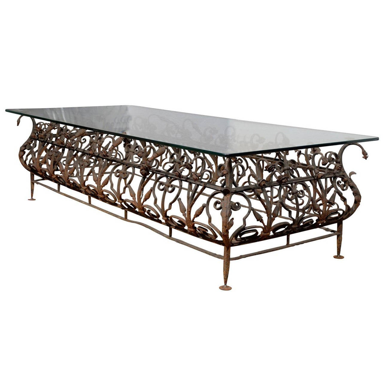 Austrian Mid 19th Century Large Size Wrought Iron And Glass Top Coffee Table For Sale At 1stdibs