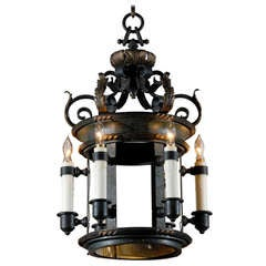 French Bronze Six-Light Lantern with Foliage Décor from the Turn of the Century