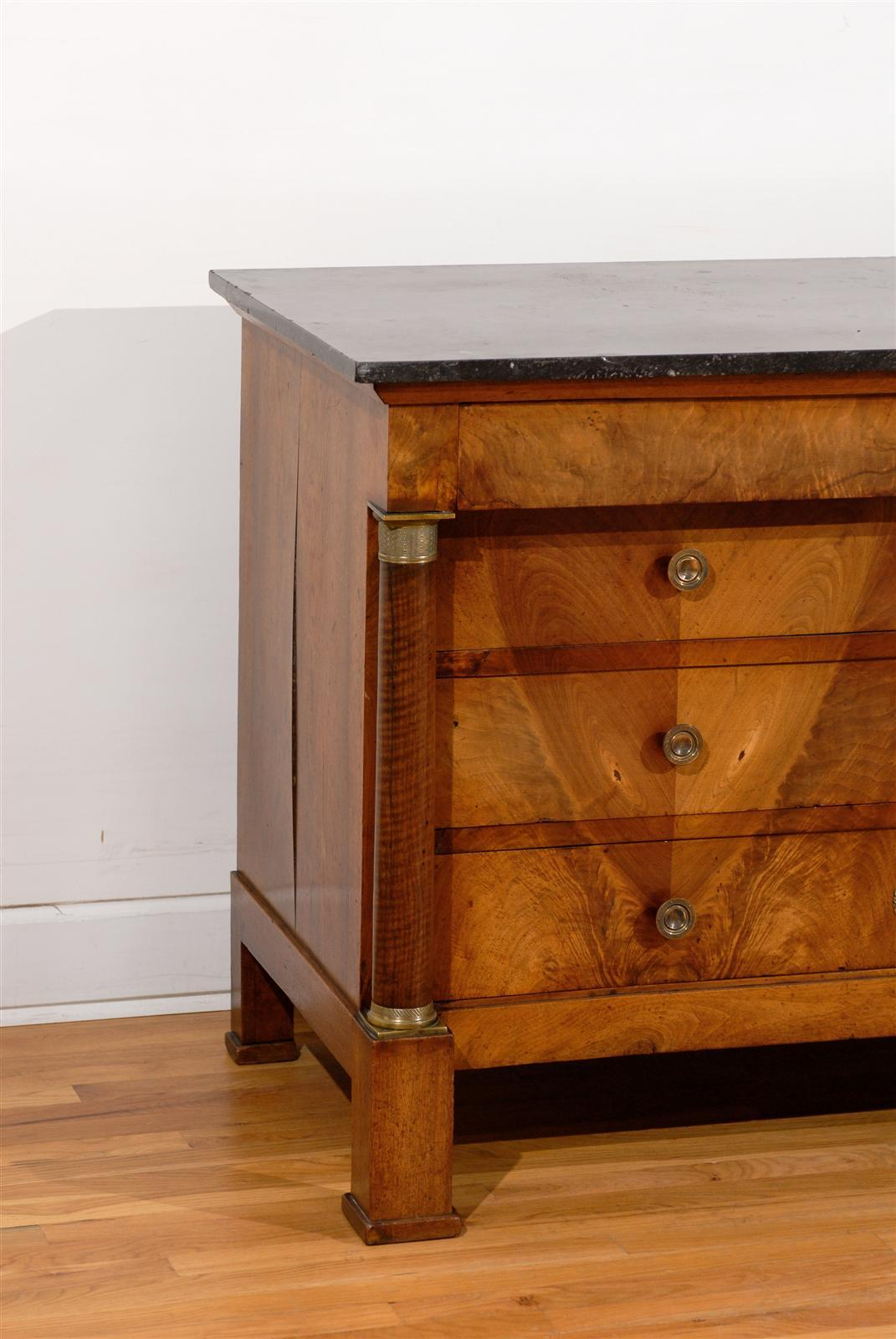 French Early 19th Century Empire Period Four-Drawer Commode with Marble Top For Sale 5