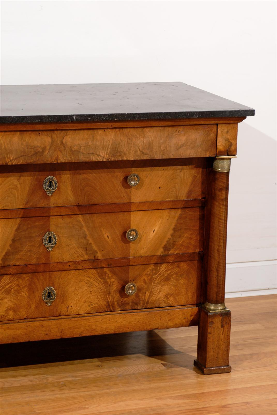 French Early 19th Century Empire Period Four-Drawer Commode with Marble Top For Sale 6