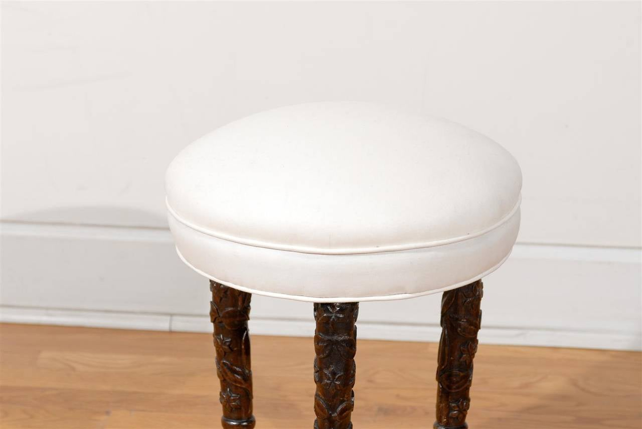 Black Forest German 1880s Single Stool With Upholstered