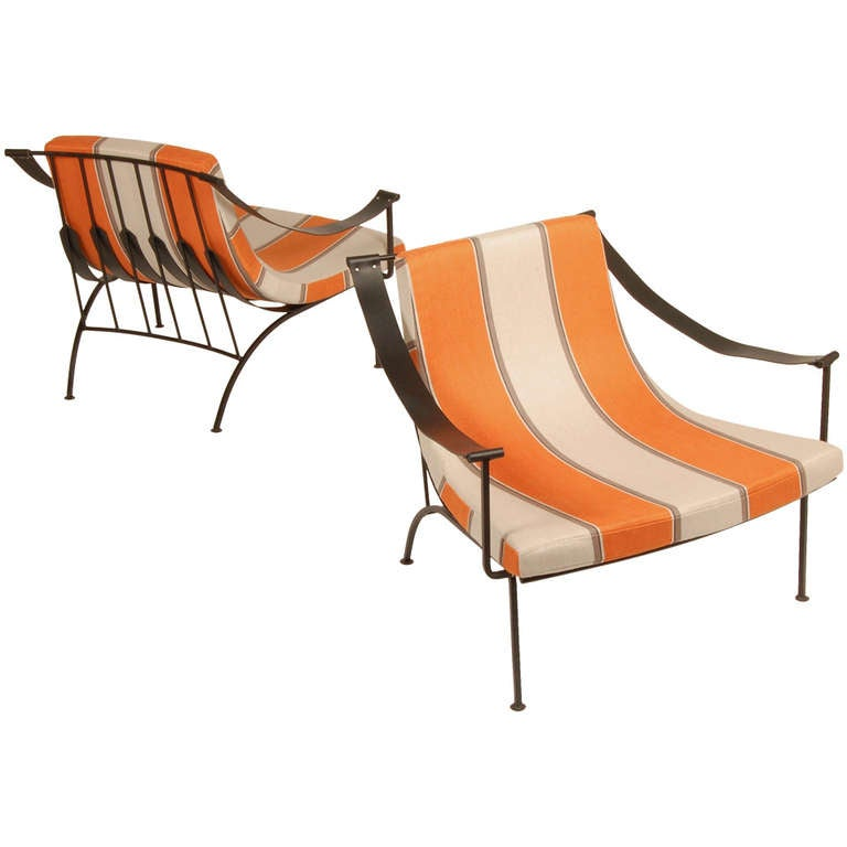 Modernist Iron Lounge Chairs at 1stdibs