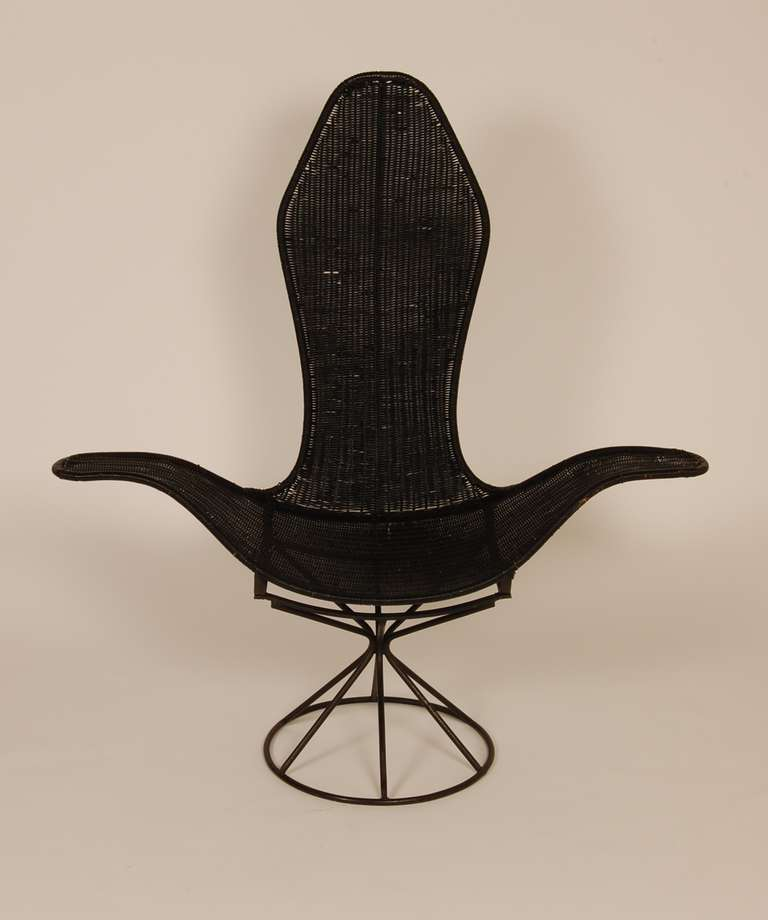 Wicker Petal Lounge Chair at 1stdibs