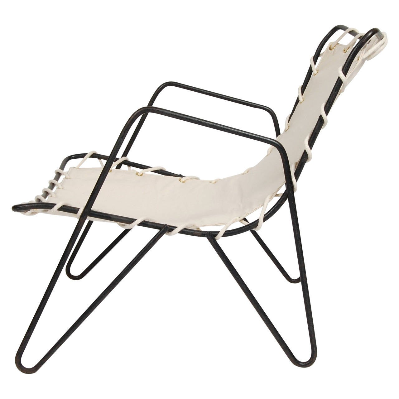 Modernist Iron and Canvas Patio Lounge Chair at 1stdibs