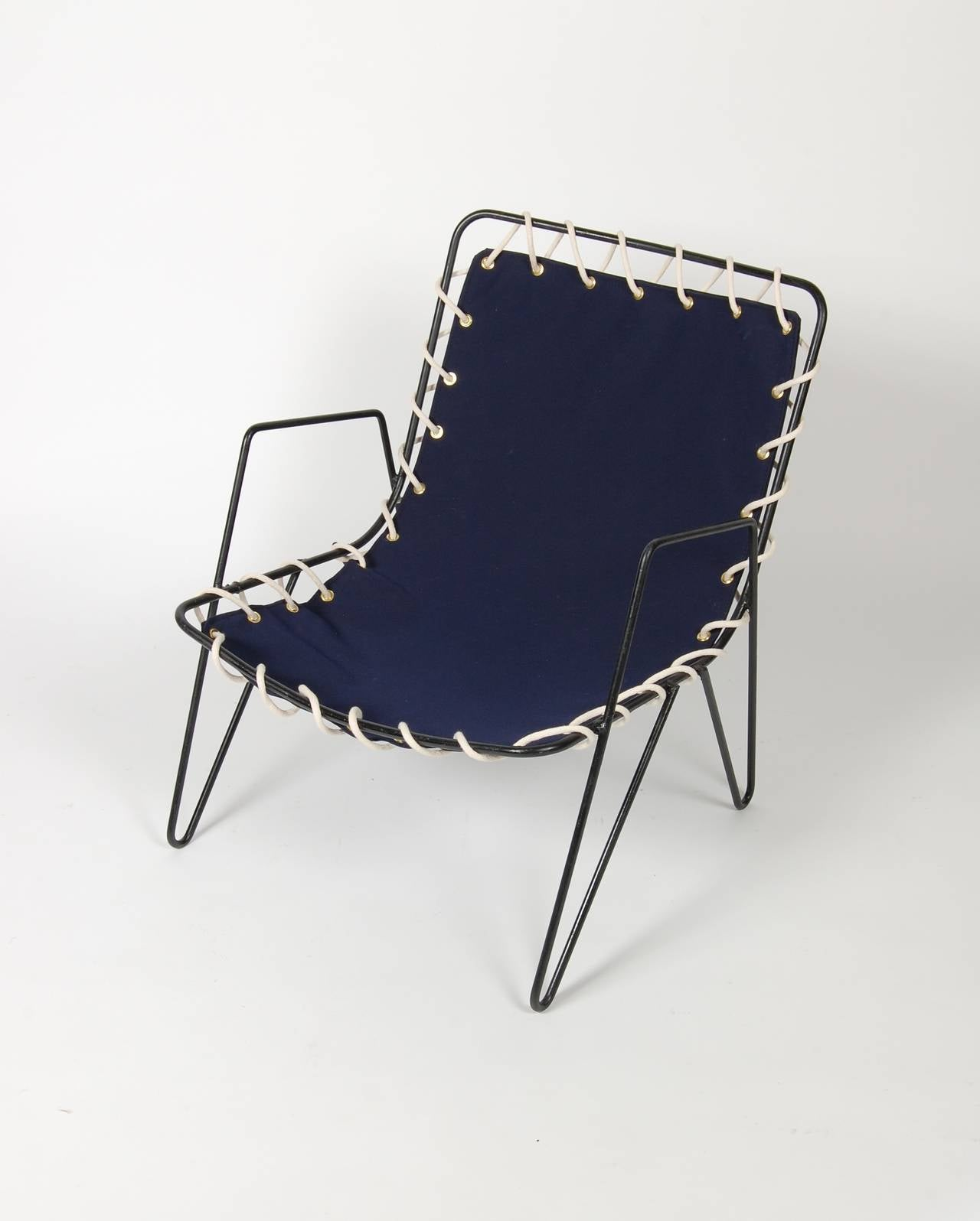 Modernist Iron and Blue Canvas Patio Lounge Chair 1950s at 1stdibs