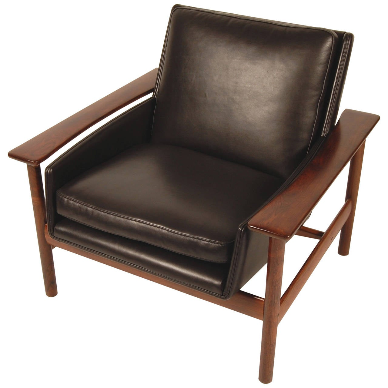 Dokka rosewood and leather lounge chair scandinavia modern for Modern leather club chairs