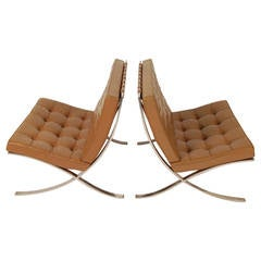 Pair of Barcelona Lounge Chairs Circa 1960s