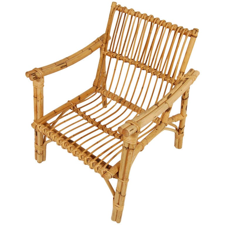 Italian Rattan Chair At 1stdibs