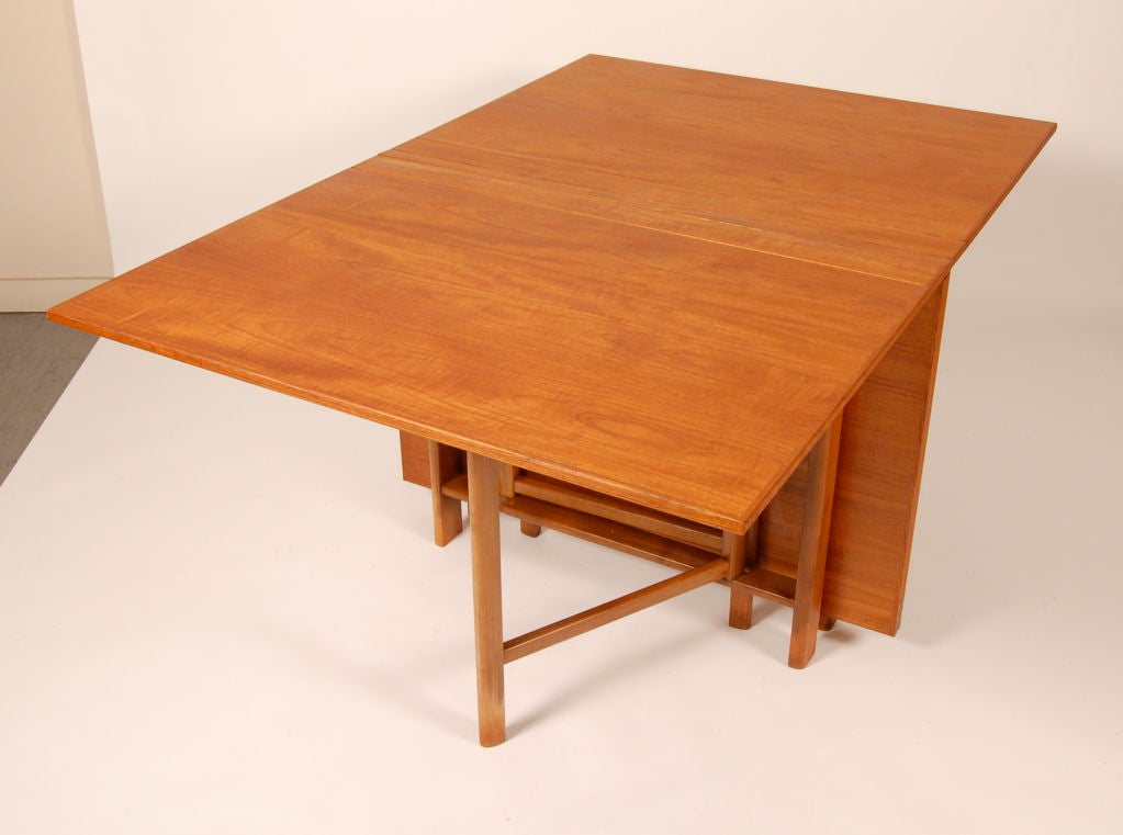Swedish folding gateleg dining table at 1stdibs for Folding dining table