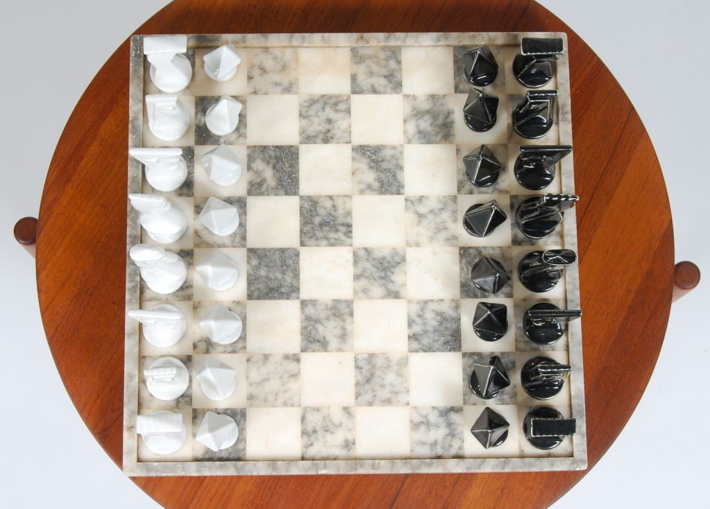 Modernist ceramic and marble chess set at 1stdibs - Ceramic chess sets for sale ...