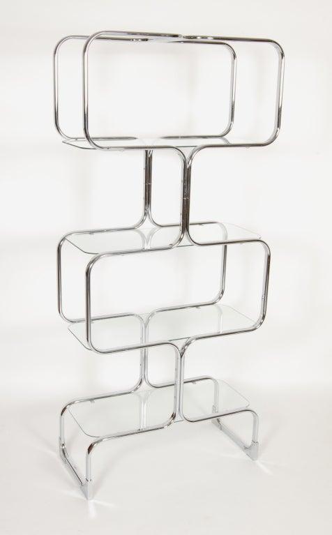Tricom Italian 1970's Chrome & Glass Etagere image 2