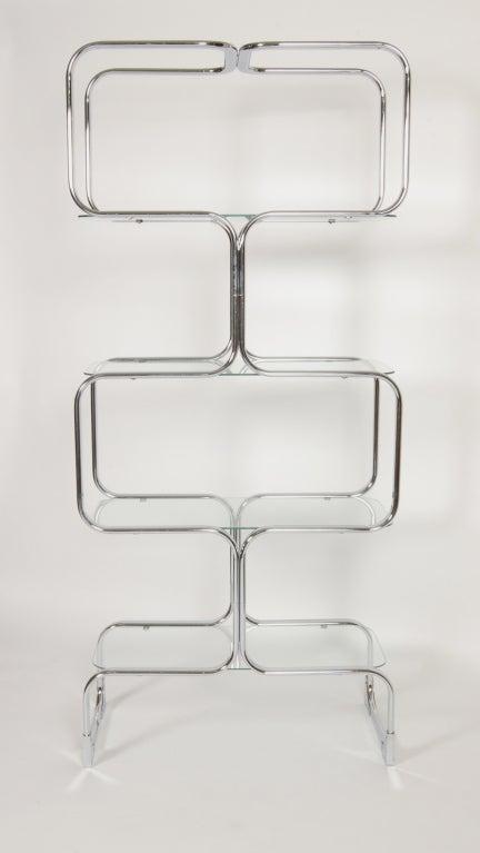 Tricom Italian 1970's Chrome & Glass Etagere 3