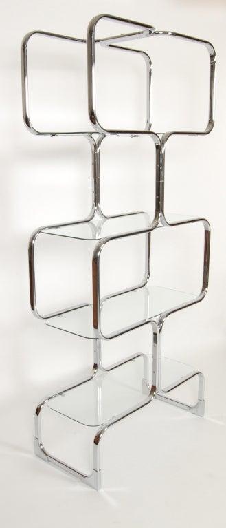 Tricom Italian 1970's Chrome & Glass Etagere 4
