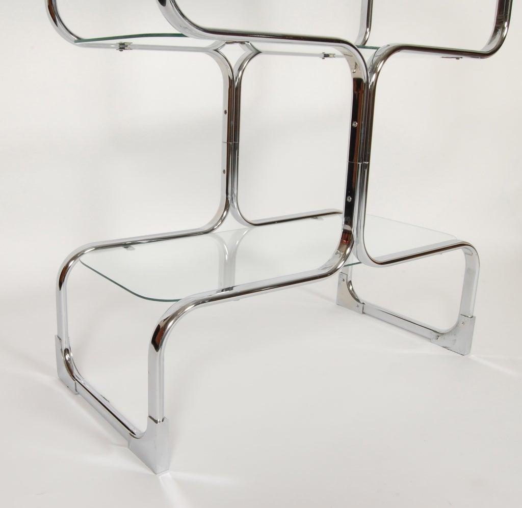 Tricom Italian 1970's Chrome & Glass Etagere 5