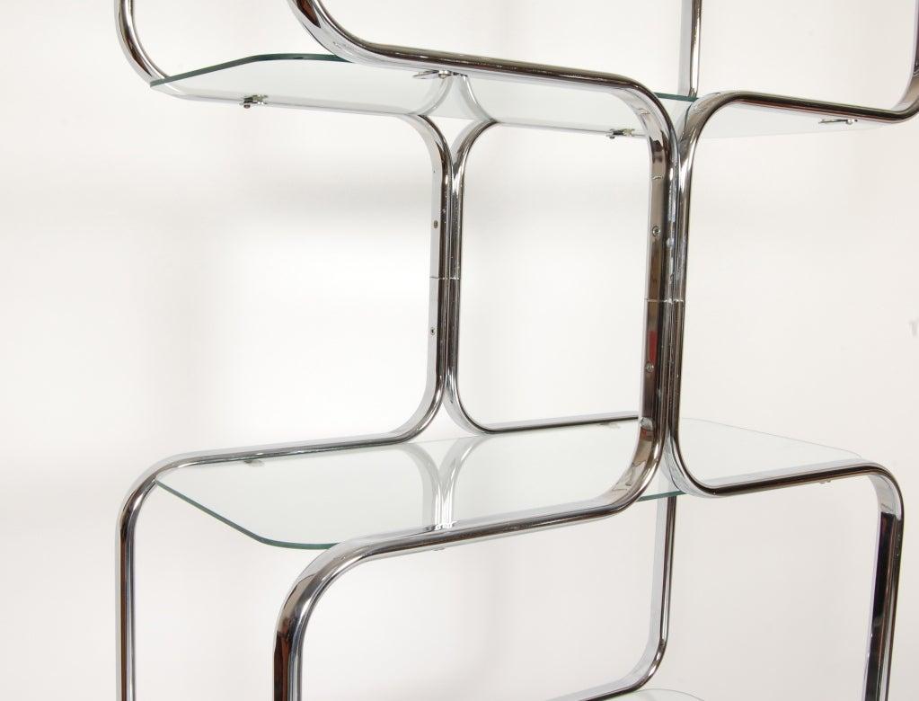 Tricom Italian 1970's Chrome & Glass Etagere image 6