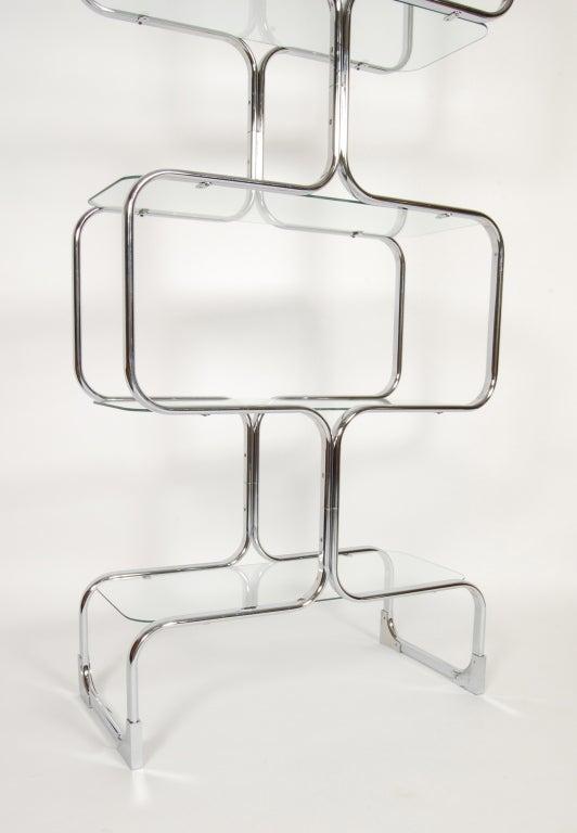 Tricom Italian 1970's Chrome & Glass Etagere 7
