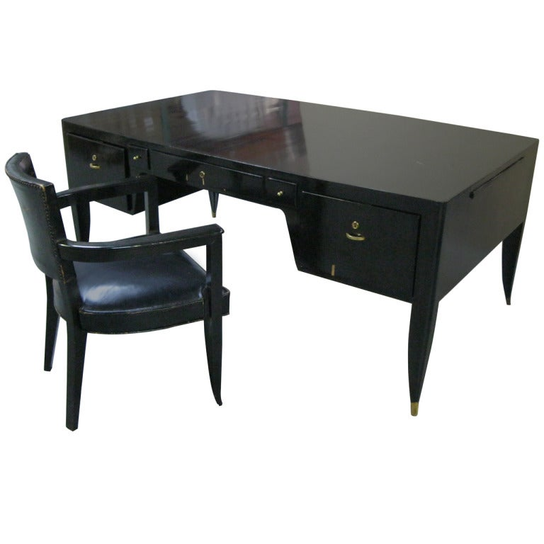 Important Black Lacquer Desk And Chairs Attr To Dominique Circa 1935 For