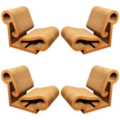 "Rare Set Of 4 ""Contour"" Lounge Chairs By Frank Gehry"
