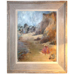 French 1940s Painting of a Beach Scene