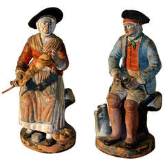 Pair of Early 19th Century French Terra Cotta Figures