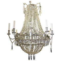 A Large Louis XVI Style Crystal Chandelier, Electrified