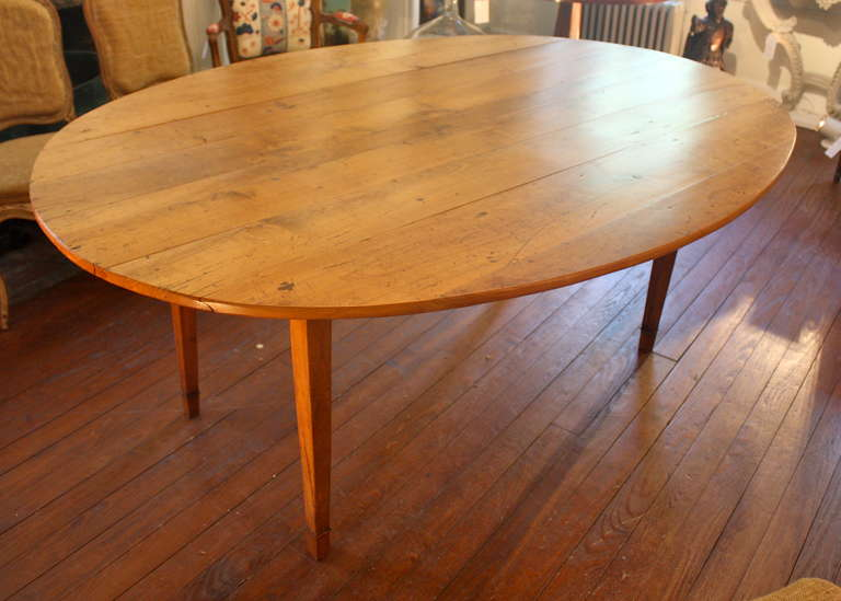 19th Century French Oval Drop Leaf Farm Table 3