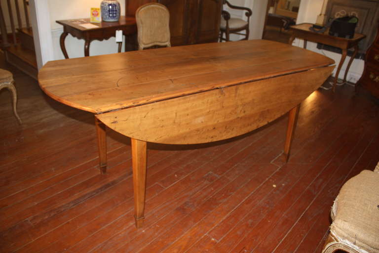 19th Century French Oval Drop leaf Farm Table at 1stdibs
