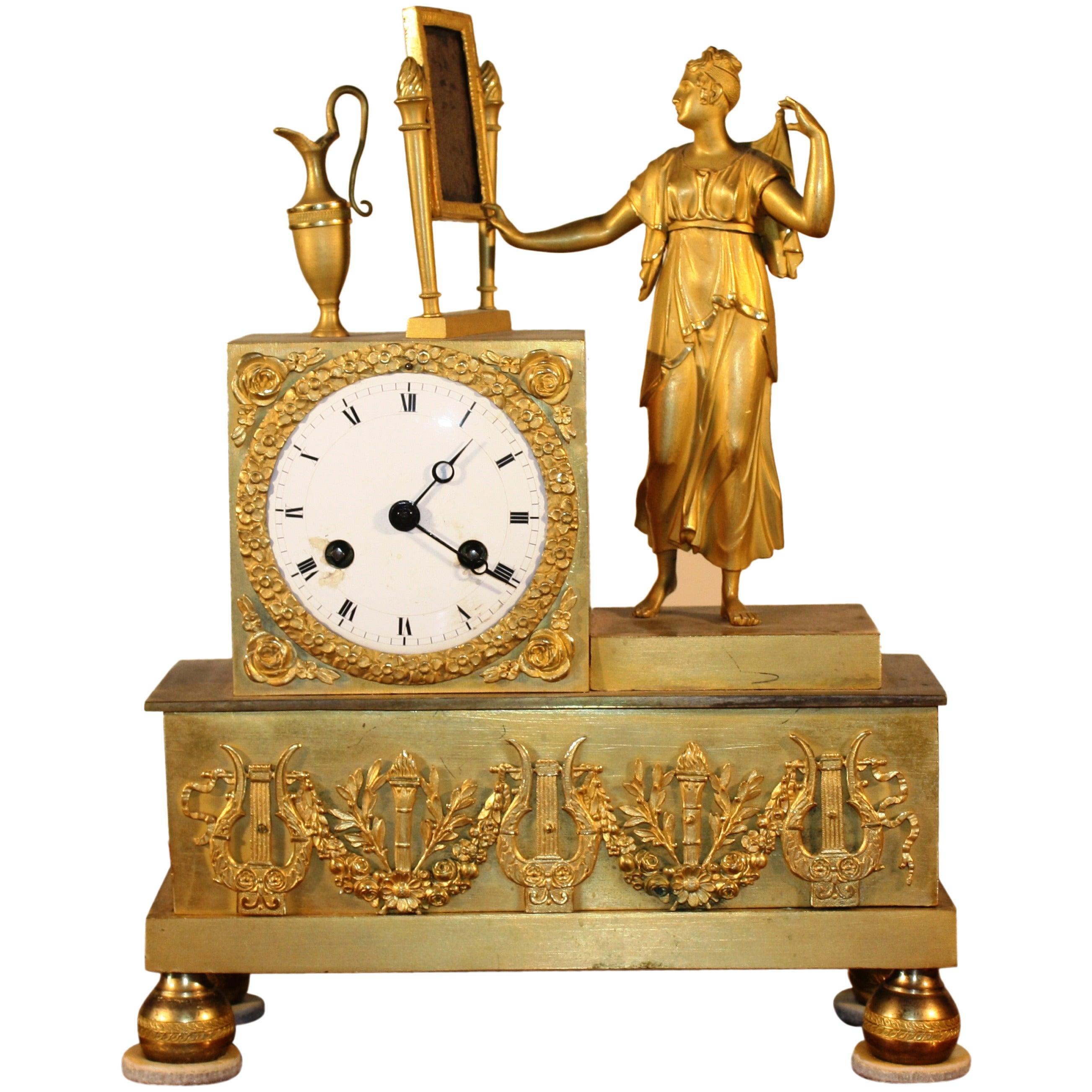 French Empire Figural Mantel Clock