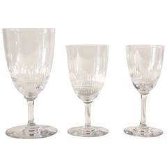 Set of 24 French 1940s Etched Crystal Glassware