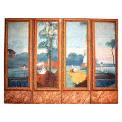French 18th Century Four Panel Screen