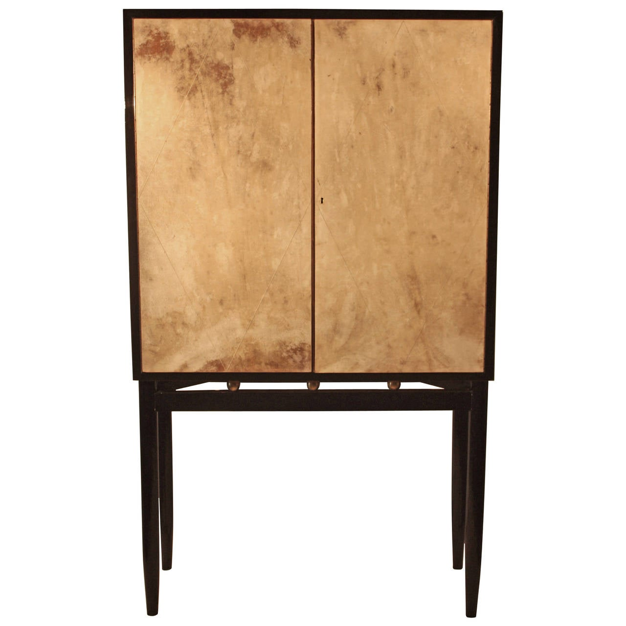 Jean Michel Frank Style Two Door Cabinet Parchment Circa