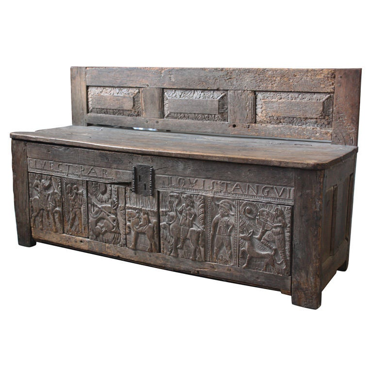 late 17th century storage bench with back at 1stdibs