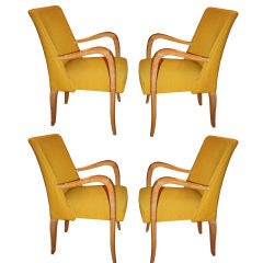 Set of Four French 1940's Cerused Oak Upholstered Armchairs