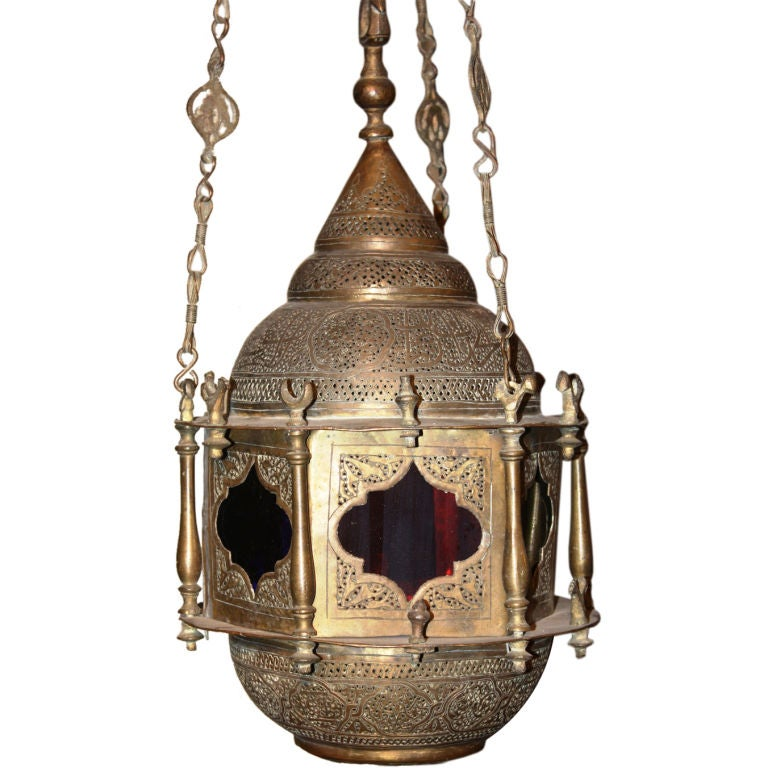 Moorish Hanging Lantern In Brass For Sale At 1stdibs