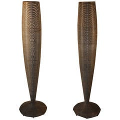 A Pair Of 5' Tall Modernist Vases In Woven Wire
