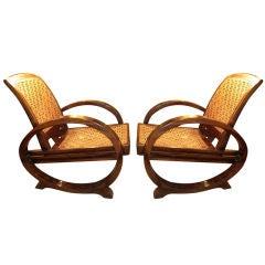 Pair Of Art Deco Lounge Chairs In Teak