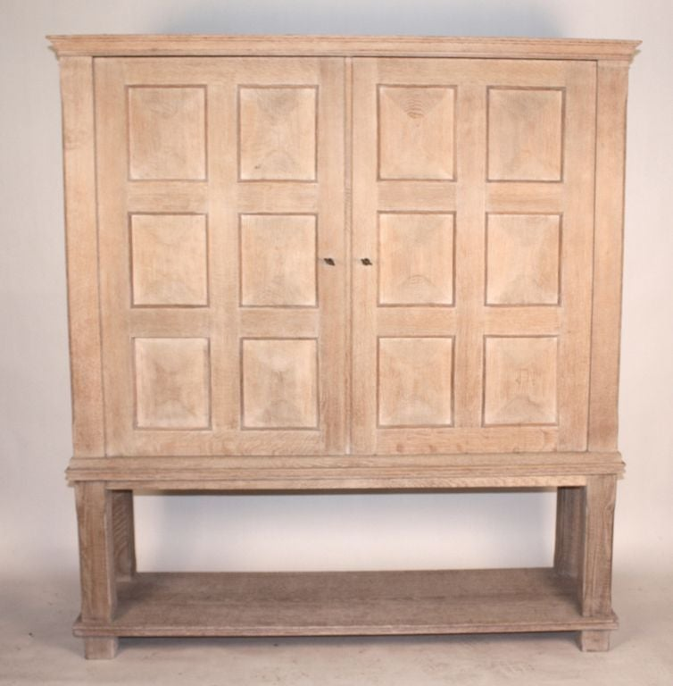 Cerused French Oak Kitchens And Cabinets: Cerused Oak 2-Part Tall Cabinet, French 1940's At 1stdibs