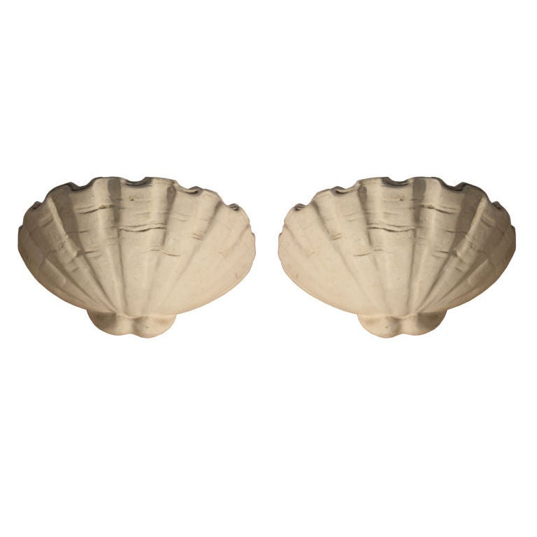 A Pair of Plaster Wall Sconces In The Manner Of Serge Roche at 1stdibs
