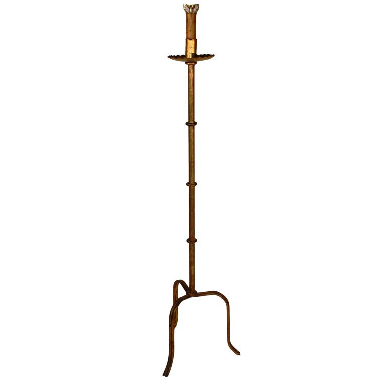 French 1940's Gilt Iron Floor Lamp