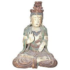 Carved Wood Seated Budha