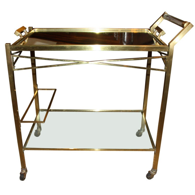 Rolling Bar Cart By Adnet At 1stdibs