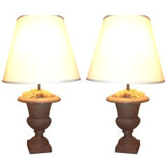 Pair of Rusted Iron Garden Urns Mounted As Lamps