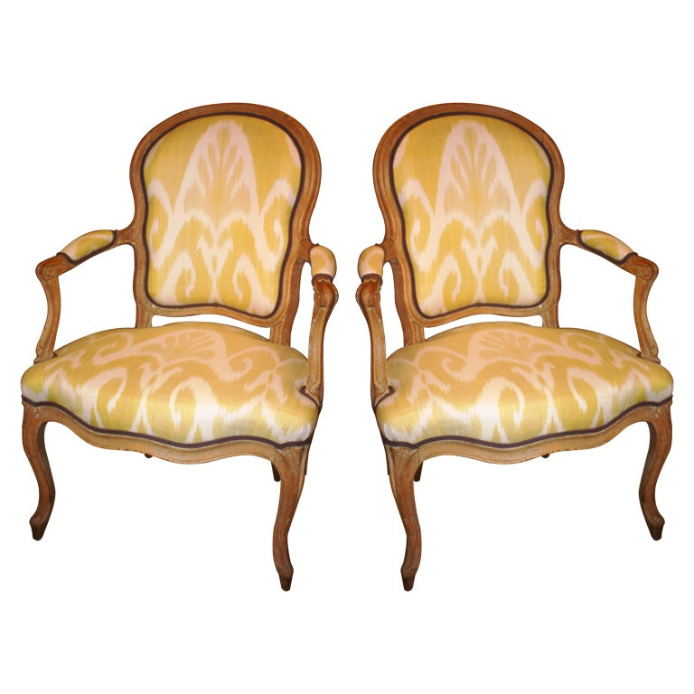 pair of louis xv period fauteuil cabriolet at 1stdibs