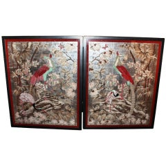 Large and Unusual Pair Of Eglomise Paintings, Art Deco