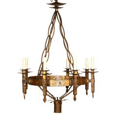 French 1930's Gilt-Iron Chandelier