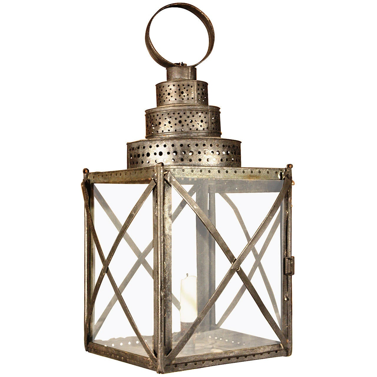 decorative tin lantern at 1stdibs. Black Bedroom Furniture Sets. Home Design Ideas