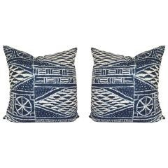 Pair Of Large Pillows In Vintage African Indigo Cloth