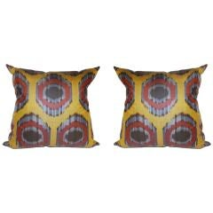 Pair Of Large Ikat Pillows